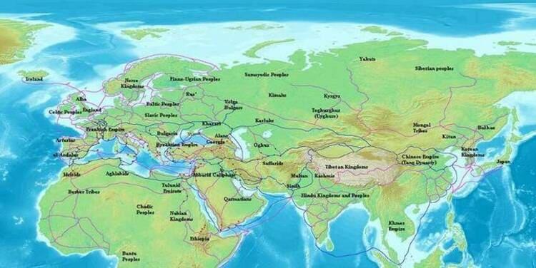 Les routes commerciales au IXème siècle